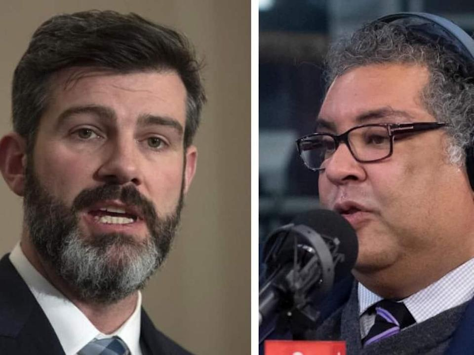 Edmonton Mayor Don Iveson, left, and his counterpart in Calgary, Naheed Nenshi, are not running for re-election on Monday, when voters in the two Alberta cities will be casting ballots for new mayors for the first time in years. (Adrian Wyld/The Canadian Press, Ben Nelms/CBC - image credit)