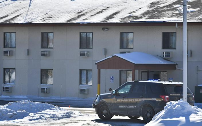Wright County Sheriff's Department vehicles surrounded the Super 8 Motel connected with the scene of a shooting at the Allina Medical Clinic Tuesday, Feb. 9, 2021, in Buffalo.