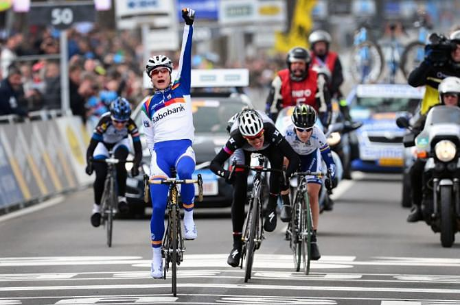 Marianne Vos (Rabobank Liv/Giant) celebrates victory at the 2013 Tour of Flanders after outsprinting her three breakaway companions