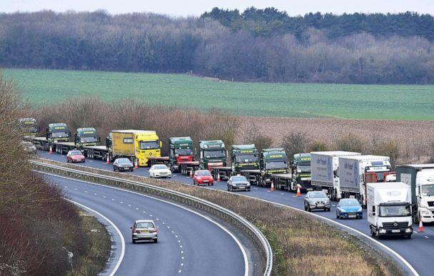 PHOTO: A line of lorries waits near the Port of Dover in Kent, Britain, Jan. 7, 2019. (Toby Melville/Reuters, FILE)