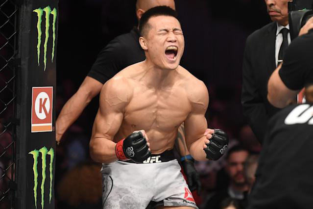 Chan Sung Jung, shown here prior to facing Yair Rodriguez on Nov. 10, 2018 in Denver, won't forgive himself for his last-second loss. (Getty Images)
