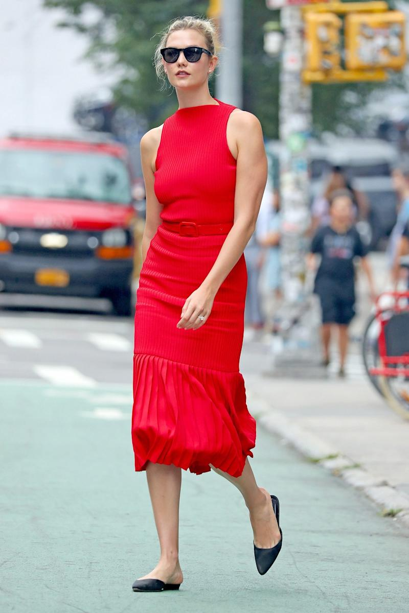 Who: Karlie Kloss What: Brandon Maxwell Where: On the street, New York City When: August 2, 2018