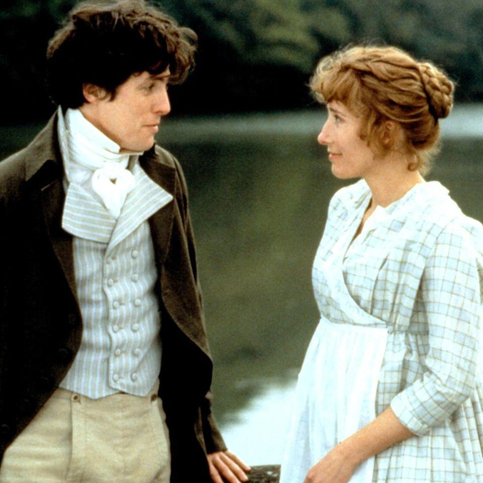 """<p>As Edward Ferrars in the film adaptation of Jane Austin's <em>Sense and Sensibility</em>, Grant brings all the charm, courtesy, and wit we'd expect of a gentleman of the Regency era. Courtship is certainly not lost in this Oscar winner. And seeing him in period costume can make a girl swoon.</p><p><a class=""""link rapid-noclick-resp"""" href=""""https://www.amazon.com/gp/video/detail/amzn1.dv.gti.daa9f784-47c1-9bb5-3ca1-37561aa1d0c5?autoplay=1&ref_=atv_cf_strg_wb&tag=syn-yahoo-20&ascsubtag=%5Bartid%7C10056.g.34990725%5Bsrc%7Cyahoo-us"""" rel=""""nofollow noopener"""" target=""""_blank"""" data-ylk=""""slk:WATCH NOW"""">WATCH NOW</a></p>"""