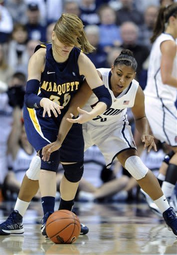 Marquette's Cristina Bigicaleft, left, fights for a loose ball with Connecticut's Kaleena Mosqueda-Lewis during the first half of an NCAA college basketball game in Storrs, Conn., Tuesday, Feb. 5, 2013. (AP Photo/Fred Beckham)