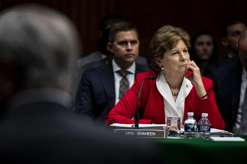 Sen. Jeanne Shaheen (D-N.H.) during a Senate hearing on Capitol Hill in Washington, Sept. 12, 2019. (Anna Moneymaker/The New York Times)