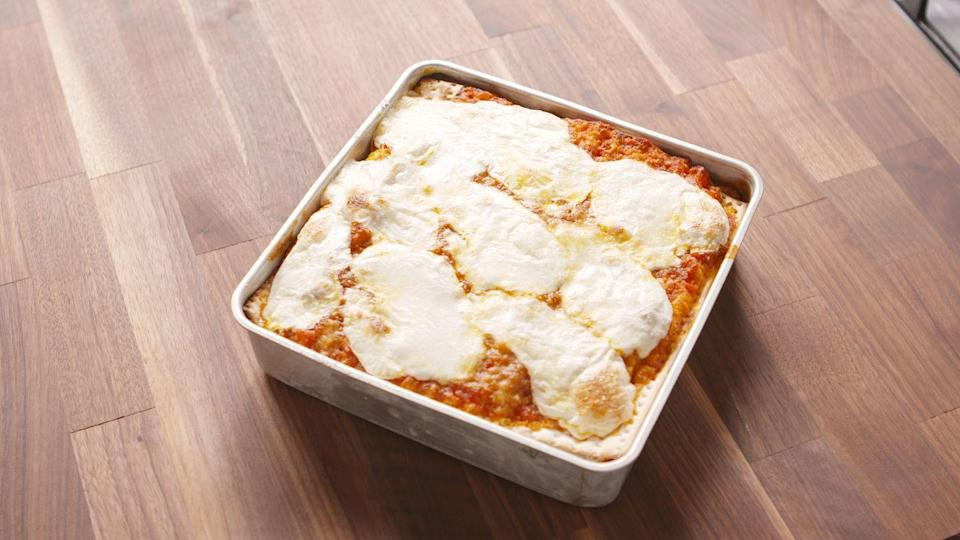 """<p>It's just arguably the best way to eat matzo, though it's not exactly a """"traditional"""" Passover dish. <br></p><p>Get the recipe from <a href=""""https://www.delish.com/cooking/recipes/a46885/matzoh-lasagna/"""" rel=""""nofollow noopener"""" target=""""_blank"""" data-ylk=""""slk:Delish"""" class=""""link rapid-noclick-resp"""">Delish</a>.</p>"""