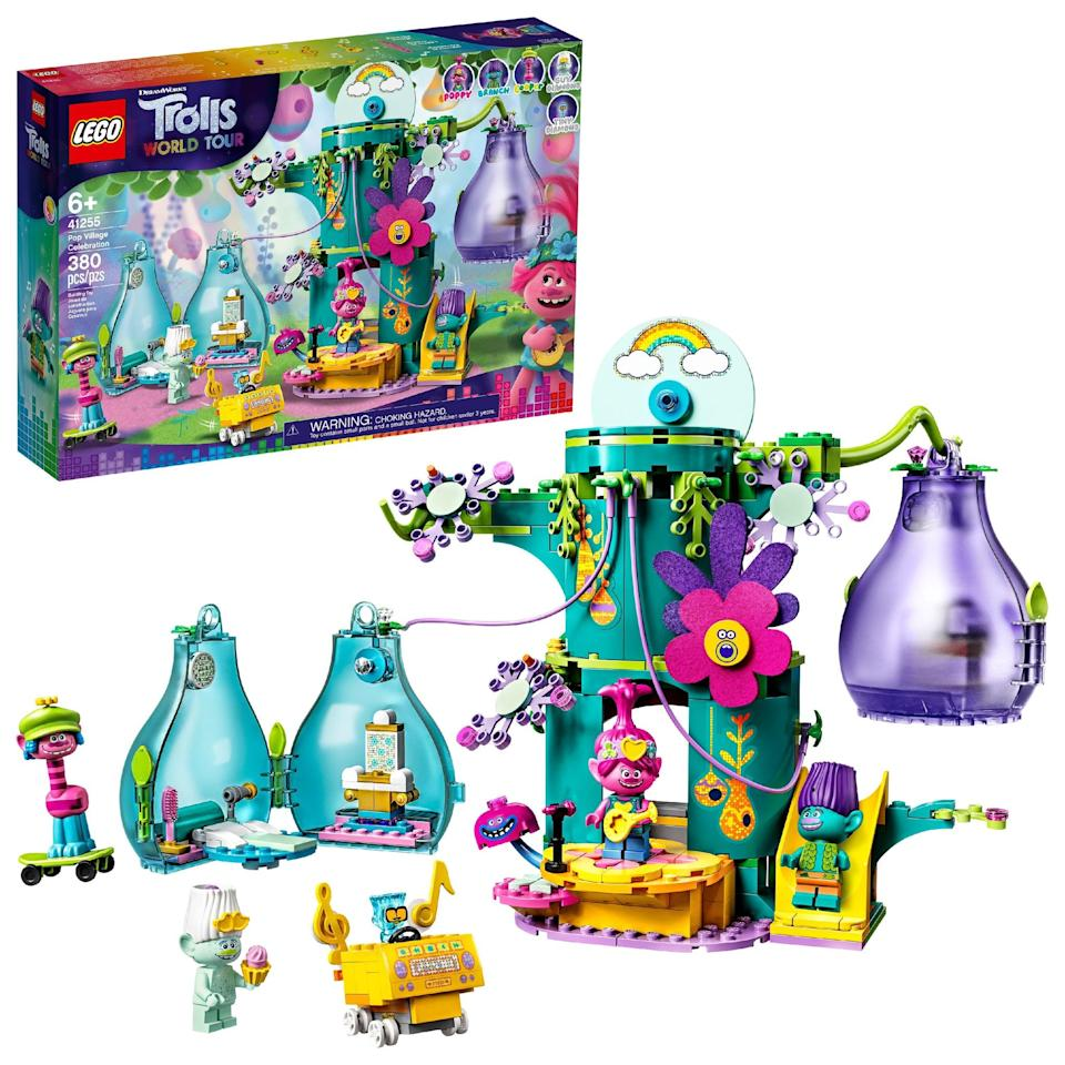 <p>The <span>Lego Trolls World Tour Pop Village Celebration Set</span> ($50) has 380 pieces and is best suited for kids ages 6 and up.</p>