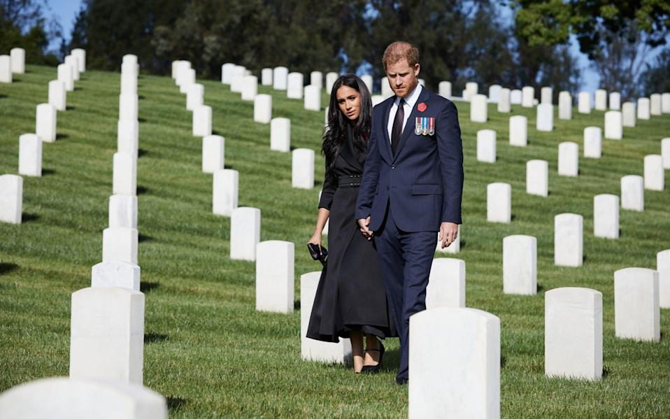 The Duke and Duchess of Sussex privately visited the Los Angeles National Cemetery on Remembrance Sunday - Lee Morgan