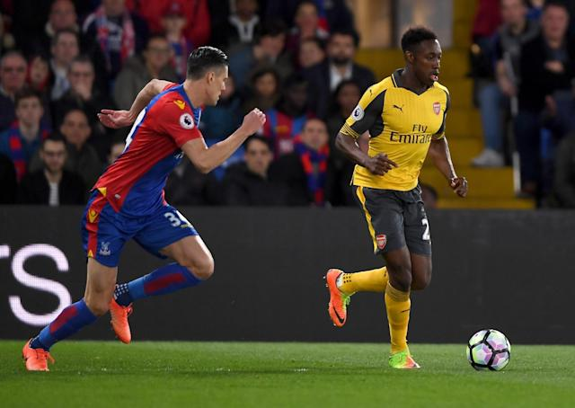 <p>Danny Welbeck launches an Arsenal attack</p>