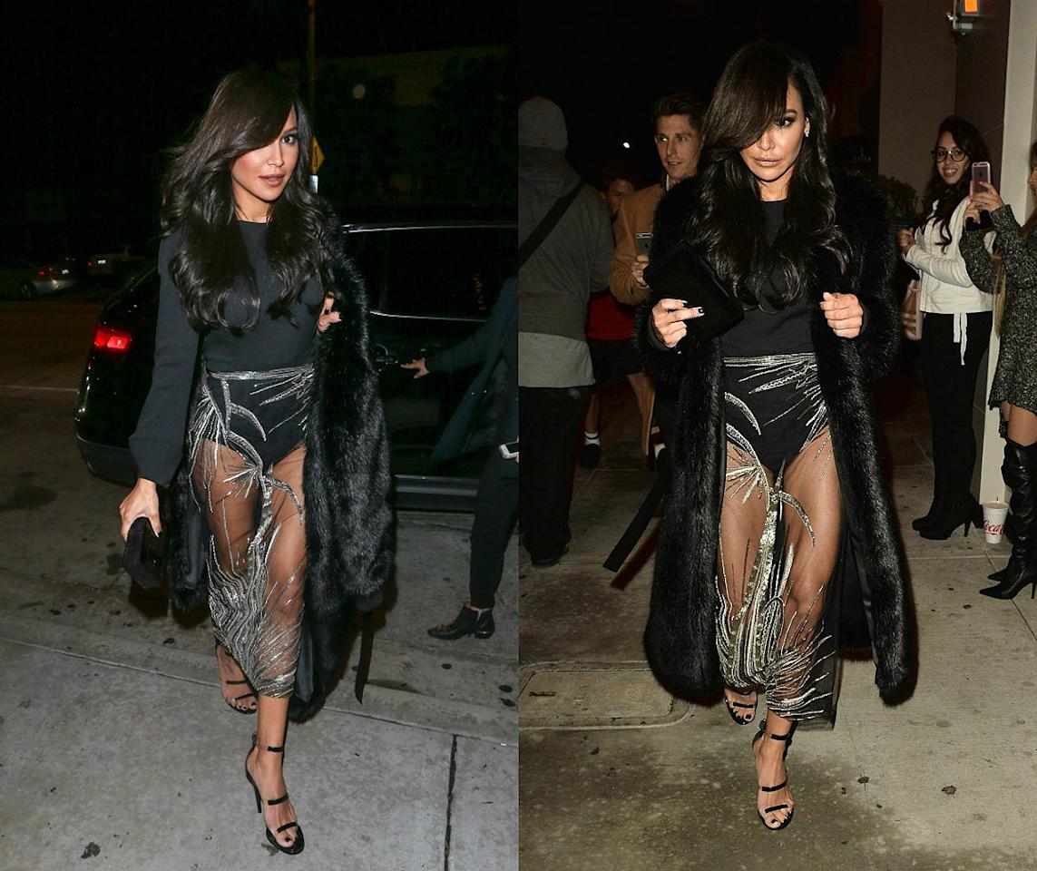 <div><b>When: Jan. 9, 2017</b> <br /> Naya Rivera rocked a retro black fur coat over a seamless black bodysuit and a <i>very</i> revealing sheer Steven Khalil couture skirt. <i> {Photos: Getty (L) /Splash (R)} </i> </div>