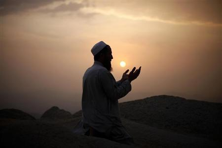 Muslim pilgrim prays atop Mount Thor in the holy city of Mecca ahead of the annual haj pilgrimage