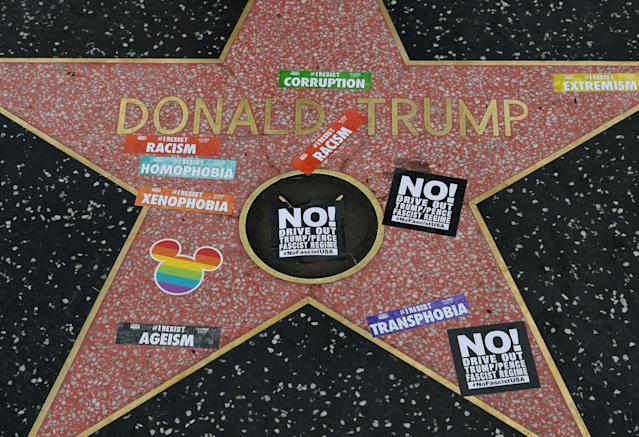 Donald Trump's star has been vandalized many times. (Photo: Mark Ralston/AFP/Getty Images)