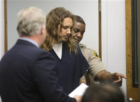 File photo of Tim Lambesis entering the courtroom for his arraignment in San Diego North County court in California