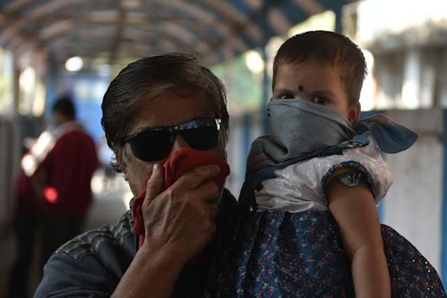 A view of the emergency ward of the Beleghata I.D. and B.G. Hospital where people have been wearing masks for safety from coronavirus in Kolkata.