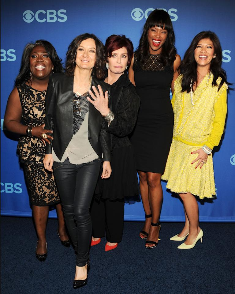 NEW YORK, NY - MAY 15:  (L-R) Cast members of The Talk Sheryl Underwood, Sara Gilbert, Sharon Osbourne, Aisha Tyler and Julie Chen attend CBS 2013 Upfront Presentation at The Tent at Lincoln Center on May 15, 2013 in New York City.  (Photo by Ben Gabbe/Getty Images)