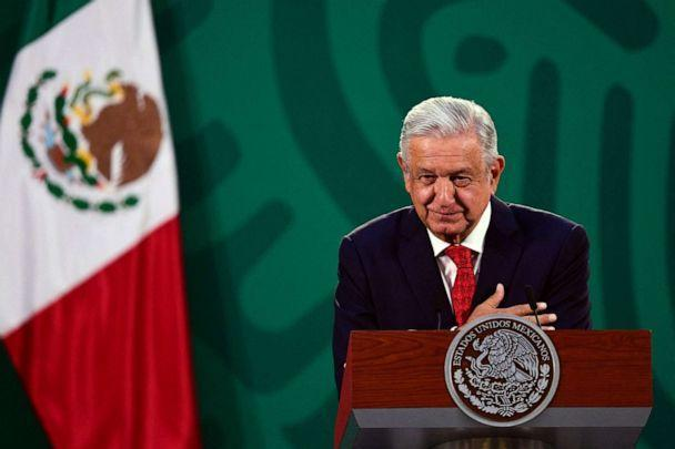 PHOTO: Mexican President Andres Manuel Lopez Obrador delivers a speech during the virtual Earth Day Summit, at the National Palace in Mexico City, on April 22, 2021. (Pedro Pardo/AFP via Getty Images)
