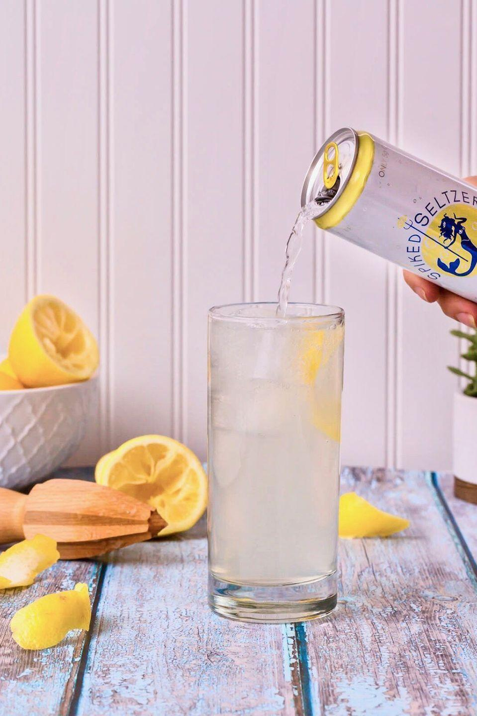 "<p><strong>Ingredients:</strong><br></p><p>1 oz. Gin</p><p>1 oz. Triple sec</p><p>½ lemon, freshly squeezed</p><p>Top with SpikedSeltzer Ventura Lemon</p><p>Serve over ice</p><p><strong>Directions: </strong></p><p>Build ingredients in a Collins glass over ice, top off with SpikedSeltzer Ventura Lemon, and stir.</p><p><em>Courtesy of </em><em><a href=""http://www.spikedseltzer.com/"" rel=""nofollow noopener"" target=""_blank"" data-ylk=""slk:SpikedSeltzer"" class=""link rapid-noclick-resp"">SpikedSeltzer</a></em></p>"