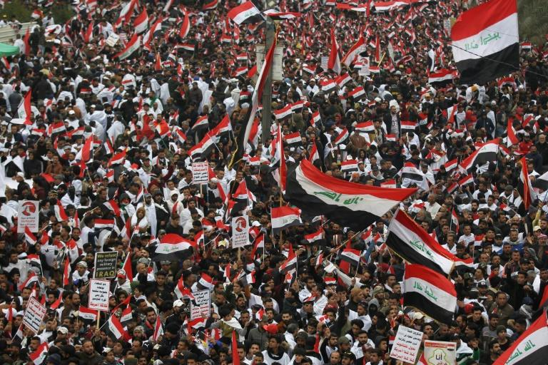 Sadr again demonstrated his powers of mobilisation with a mass demonstration in the heart of Baghdad on Friday demanding the departure of US troops (AFP Photo/AHMAD AL-RUBAYE)
