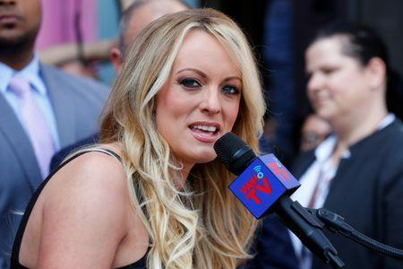 Stormy Daniels, the porn star currently in legal battles with U.S. President Donald Trump, speaks during a ceremony in her honor in West Hollywood, California, U.S., May 23, 2018. REUTERS/Mike Blake/File Photo