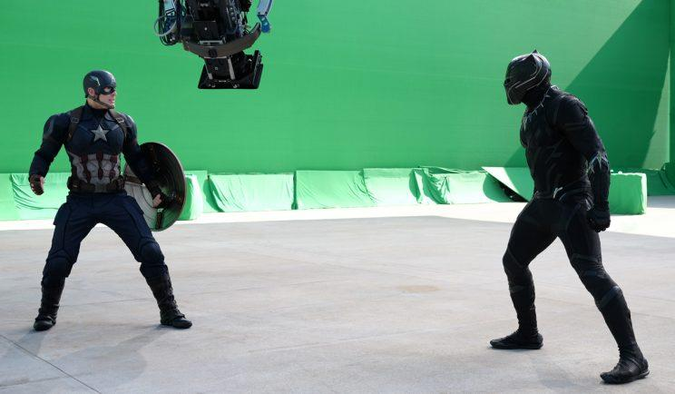 Black Panther on set for Captain America: Civil War - Credit: Marvel