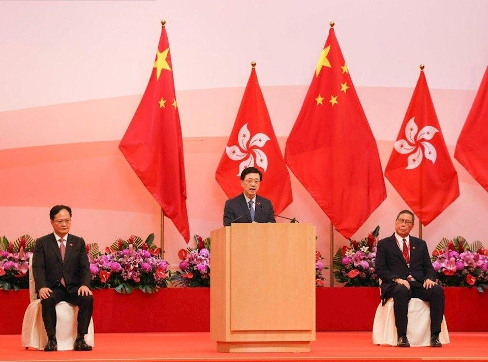 Acting chief executive John Lee delivers his speech in Wan Chai. Photo: Nora Tam