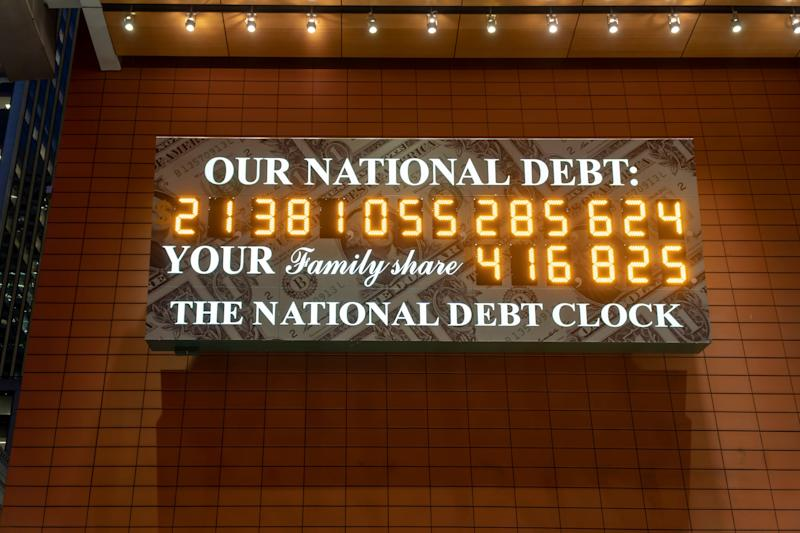 The National Debt Clock is seen in New York on Wednesday, February 13, 2019. Despite the clock being out of sync, the U.S. Treasury Dept. reported that the U.S. National Debt has surpassed $22 trillion. (Photo by Richard B. Levine)