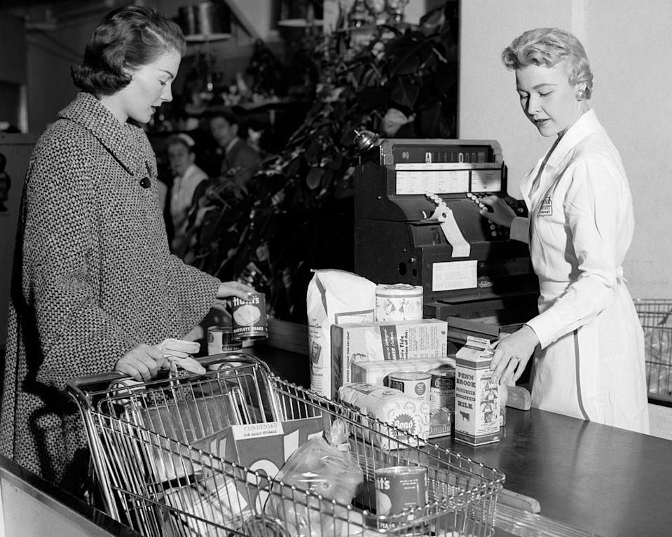 "<p>In the '40s, grocery stores had to make their <a href=""https://www.mentalfloss.com/article/26470/brief-history%E2%80%94and-future%E2%80%94-shopping-cart"" rel=""nofollow noopener"" target=""_blank"" data-ylk=""slk:checkout stands bigger"" class=""link rapid-noclick-resp"">checkout stands bigger</a> to accommodate the amount of food shoppers bought at once with the new invention of carts.</p>"