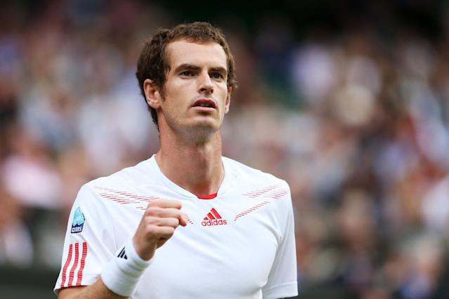 LONDON, ENGLAND - JULY 06: Andy Murray of Great Britain celebrates a point during his Gentlemen's Singles semi final match against Jo-Wilfried Tsonga of France on day eleven of the Wimbledon Lawn Tennis Championships at the All England Lawn Tennis and Croquet Club on July 6, 2012 in London, England. (Photo by Julian Finney/Getty Images)
