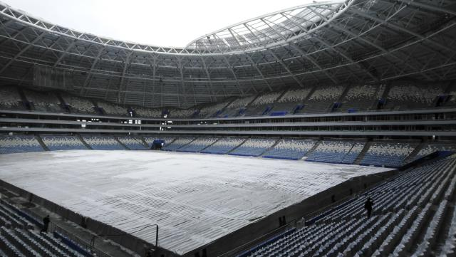 "A view of the 45,000-seat Samara Arena in Samara, Russia, Wednesday, March 21, 2018. FIFA says a World Cup stadium in the Russian city of Samara requires ""a huge amount of work"" to be ready on time. (AP Photo/Oleksandr Stashevskyi)"