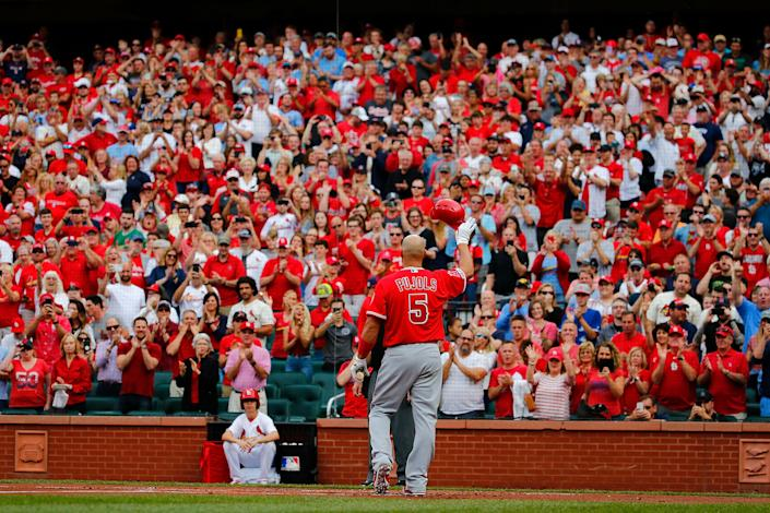 ST LOUIS, MO - JUNE 23: Albert Pujols #5 of the Los Angeles Angels of Anaheim acknowledges a standing ovation from the fans prior to batting against the St. Louis Cardinals at Busch Stadium on June 23, 2019 in St. Louis, Missouri. (Photo by Dilip Vishwanat/Getty Images)