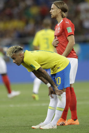 Brazil's Neymar looks down after the 1-1 draw against Switzerland during a group E match at the 2018 soccer World Cup in the Rostov Arena in Rostov-on-Don, Russia, Sunday, June 17, 2018. (AP Photo/Andre Penner)