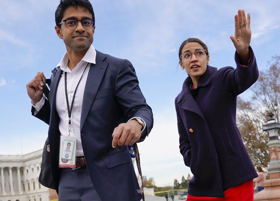 Rep.-elect Alexandria Ocasio-Cortez, D-NY., right, and her chief of staff Saikat Chakrabarti, left, on Capitol Hill in Washington on Nov. 14, 2018. (Pablo Martinez Monsivais/AP)