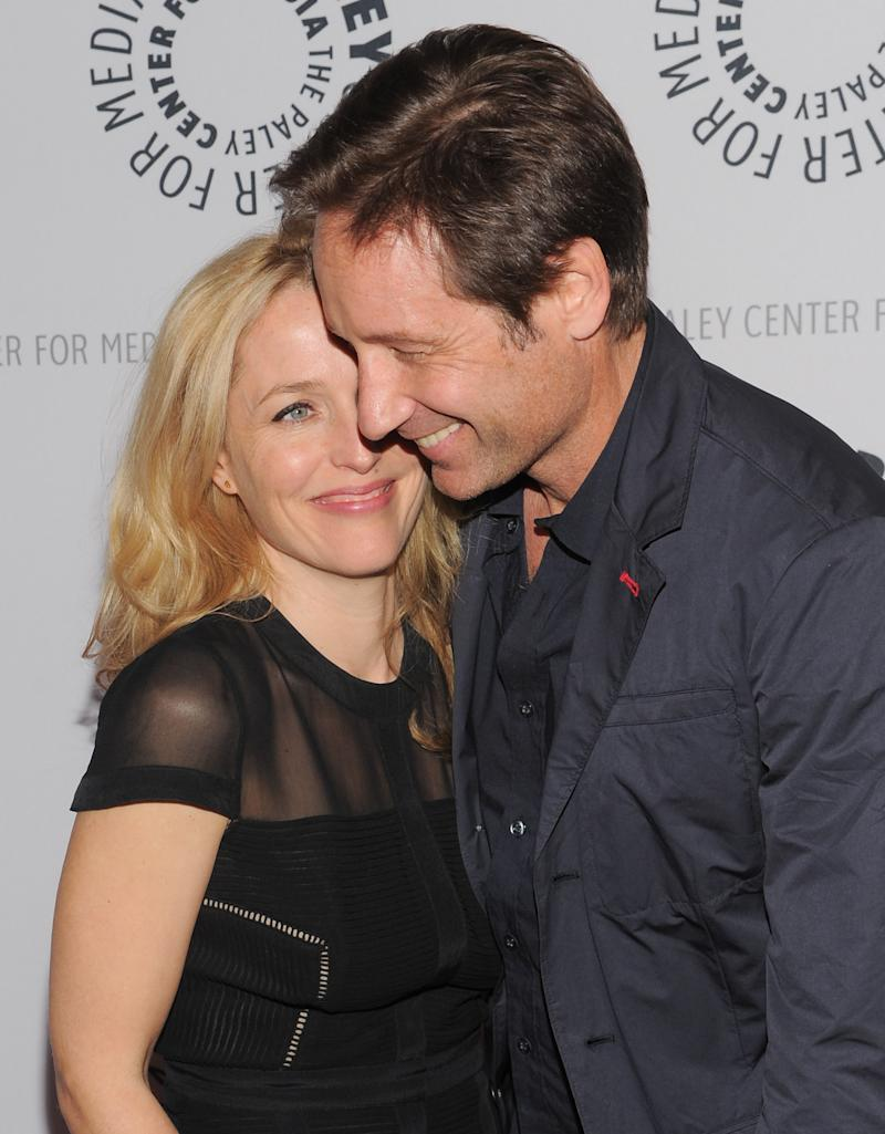 "Actors Gillian Anderson and David Duchovny attend ""The Truth Is Here: David Duchovny and Gillian Anderson on The X-Files"" at The Paley Center for Media on Saturday, Oct. 12, 2013 in New York. (Photo by Evan Agostini/Invision/AP)"