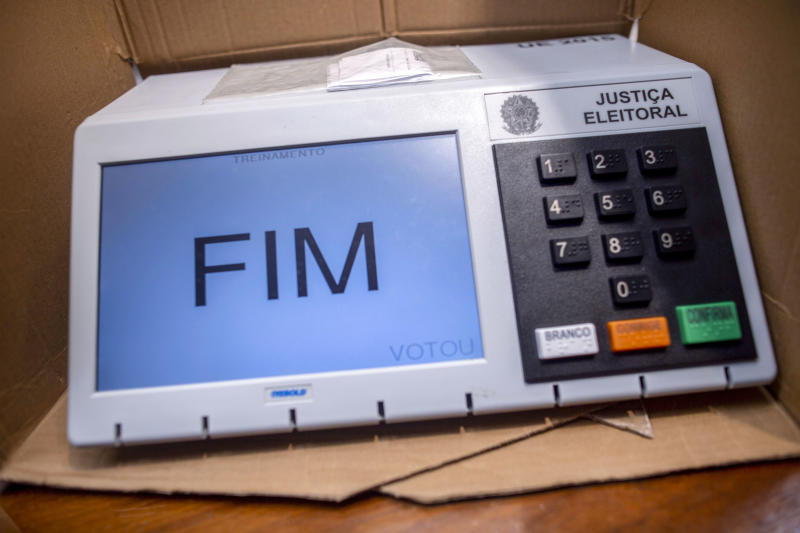 View of electronic ballots that will be used in the first round elections on October 7, at Electoral Judicial School (EJE-RJ) in Rio de Janeiro, Brazil on September 26, 2018. (Photo by Mauro Pimentel / AFP) (Photo credit should read MAURO PIMENTEL/AFP via Getty Images)