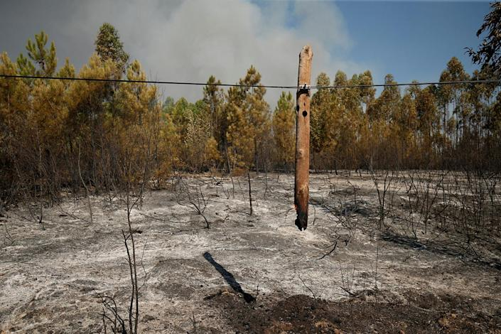 <p>A burned lamp post is seen next to the village of Gaviao, Portugal, July 26, 2017. (Rafael Marchante/Reuters) </p>