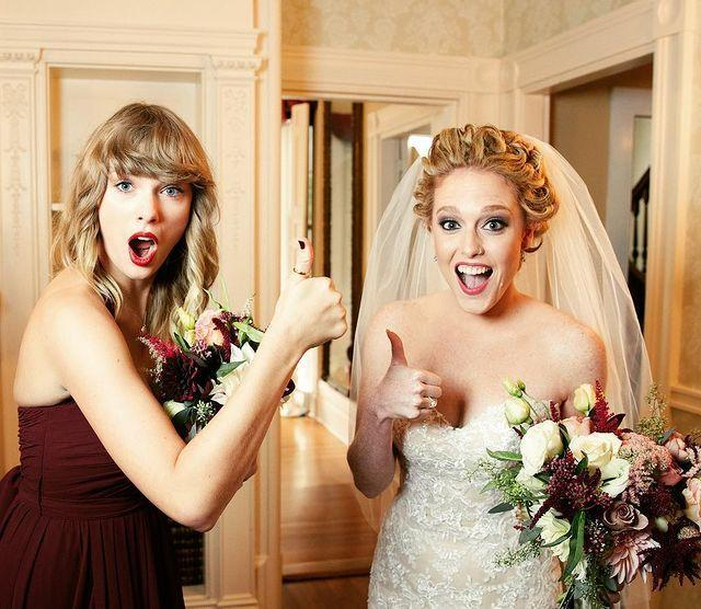 """<p>Taylor Swift has served as maid of honor and bridesmaid in two of her childhood friends' weddings. The first was for her<a href=""""https://www.elle.com/culture/celebrities/g8609/celebrity-bridesmaids/?slide=5"""" rel=""""nofollow noopener"""" target=""""_blank"""" data-ylk=""""slk:BFF Brittany Mack"""" class=""""link rapid-noclick-resp""""> BFF Brittany Mack</a>, who Taylor has known since birth. Then remember Abigail, who Taylor wrote about in her hit song """"Fifteen""""? Well, she stood closest to the bride in a <a href=""""https://people.com/music/taylor-swift-abigail-anderson-wedding-bridesmaid-photos/"""" rel=""""nofollow noopener"""" target=""""_blank"""" data-ylk=""""slk:burgundy dress"""" class=""""link rapid-noclick-resp"""">burgundy dress</a> on Abigail's big day in September 2017, just two months before her album <em>R</em><em>eputation </em>was released.</p><p><a href=""""https://www.instagram.com/p/BbU7eilHPhk/"""" rel=""""nofollow noopener"""" target=""""_blank"""" data-ylk=""""slk:See the original post on Instagram"""" class=""""link rapid-noclick-resp"""">See the original post on Instagram</a></p>"""