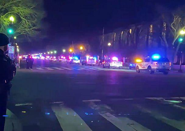 PHOTO: A motorcade of police vehicles honor police officer Brian Sicknick, Jan. 7, 2021, in Washington, D.C., who died from injuries sustained as pro-Trump protesters stormed the U.S. Capitol building. (Roberto Adams via Storyful)