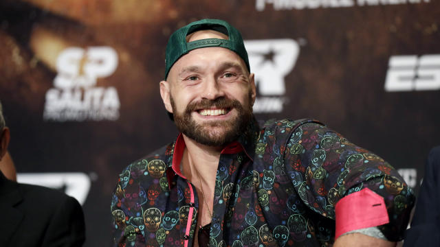 Tyson Fury smiles during a news conference Wednesday, Sept. 11, 2019, in Las Vegas. Fury will face Otto Wallin in a heavyweight boxing match Saturday. (AP Photo/Isaac Brekken)