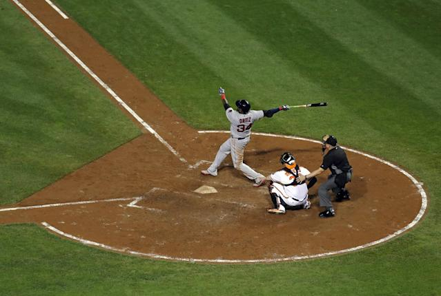 This three-run bomb was David Ortiz's 36th of the year, a new record for players in their final season. (AP)