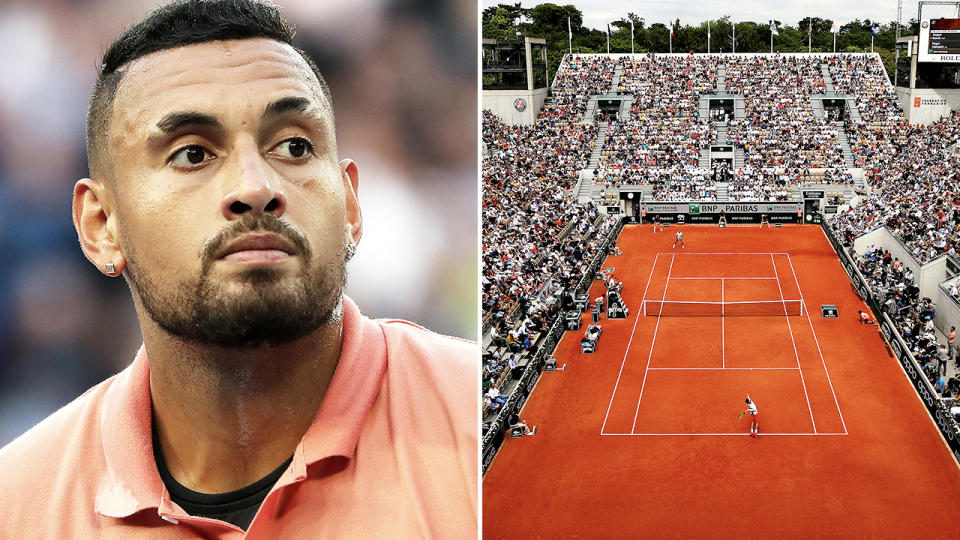 Nick Kyrgios, pictured here in action on the tennis court.
