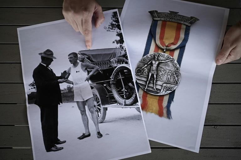Pictures of Albert Corey and his silver medal for the marathon at the 1904 Olympics in St Louis
