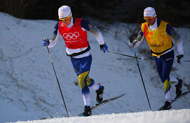 Cross-Country Skiing - Pyeongchang 2018 Winter Olympics - Men's 50km Mass Start Classic Training - Alpensia Cross-Country Skiing Centre - Pyeongchang, South Korea - February 23, 2018 - Athletes from team Sweden train. REUTERS/Carlos Barria