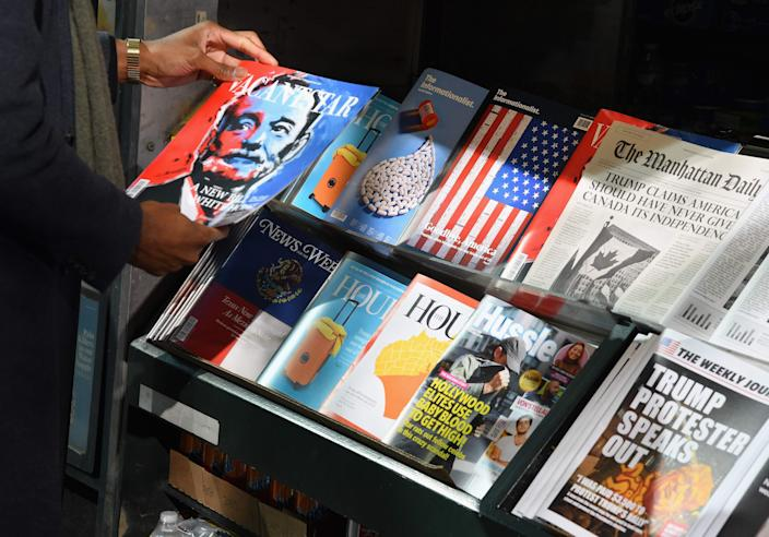 Newsstand in New York City in 2018.