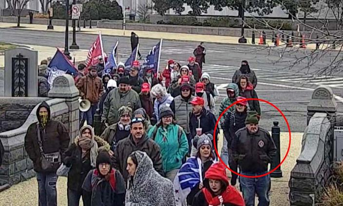 Lonnie Coffman, circled in red, with Trump supporters in Washington on Jan. 6, 2021, in an image from surveillance video. (U.S. Capitol Police)