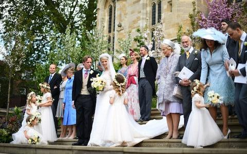 Lady Gabriella Windsor and Thomas Kingston leave St George's Chapel with their guests and wedding party - Credit: PA