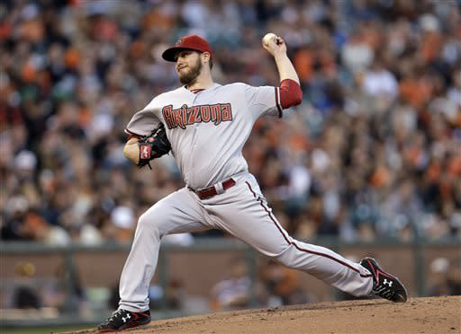 Arizona Diamondbacks starting pitcher Wade Miley throws to the San Francisco Giants during the first inning of a baseball game on Monday, April 22, 2013, in San Francisco. (AP Photo/Marcio Jose Sanchez)