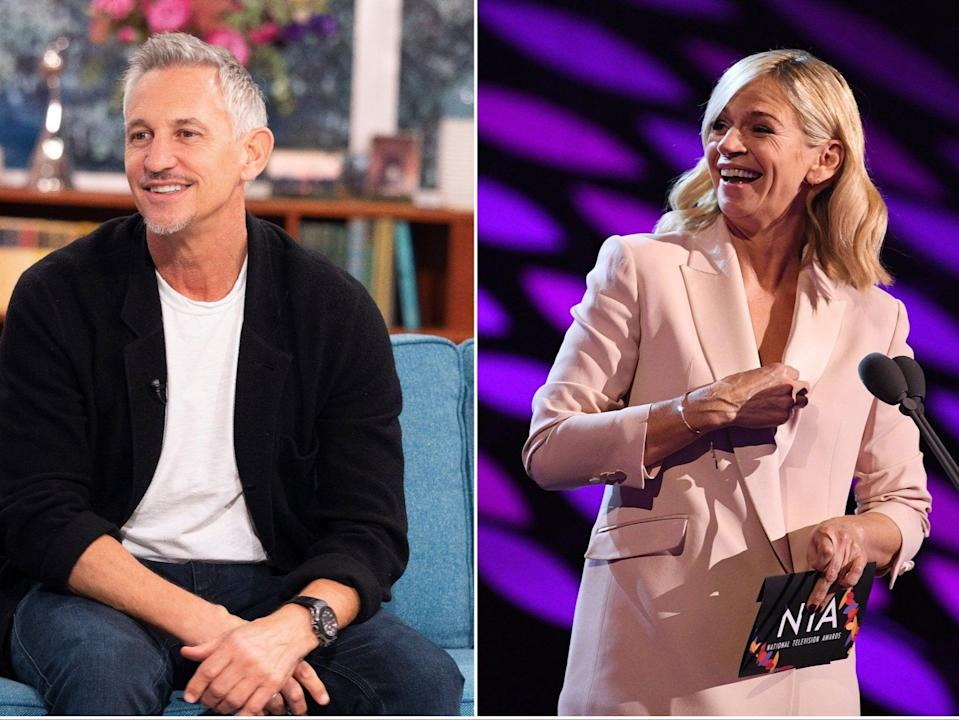 Gary Lineker remains the BBC's highest-paid star, while Zoe Ball received a £1m pay rise this year (Rex)