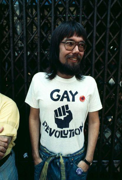 PHOTO: A man wearing a 'Gay Revolution' t-shirt at an LGBT parade in New York City on Christopher Street, 1971.  (Michael Ochs Archives/Getty Images)