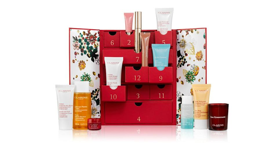 <p>From a mini Beauty Flash Balm to a Supra Volume Mascara, this £60 calendar includes 12 hero products. <em>Available at Clarins. </em> </p>