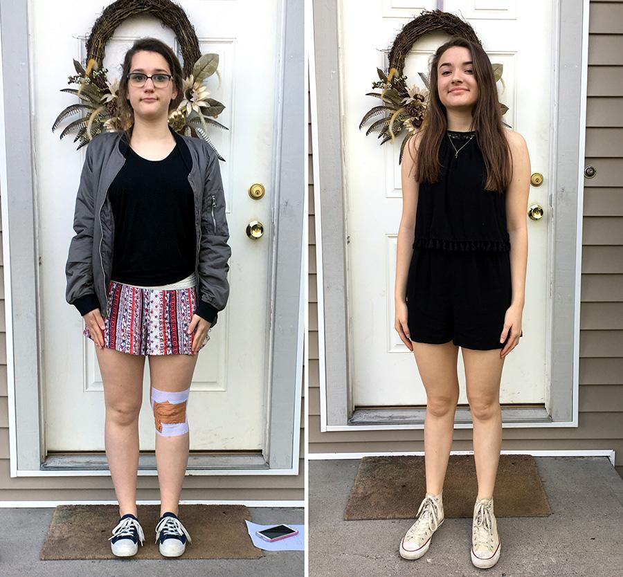 Two Belgrade High School students pose in the outfits they were dress coded for. (Photo: Josie Espinoza)